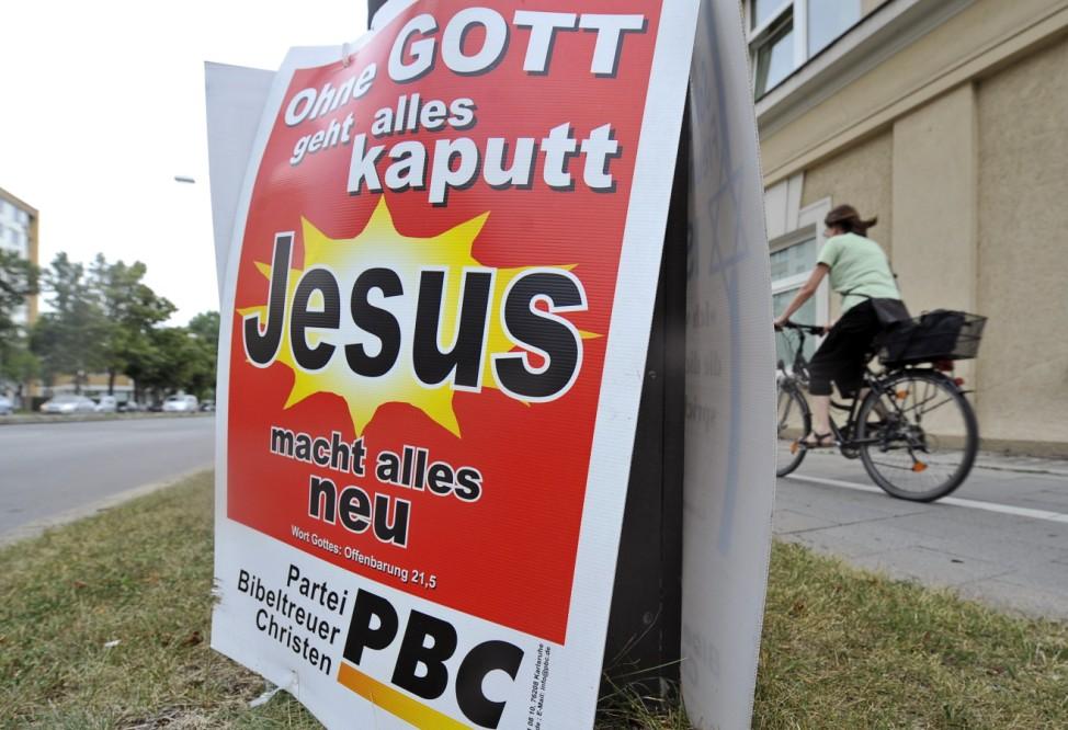 Wahlplakt der 'Partei Bibeltreuer Christen'