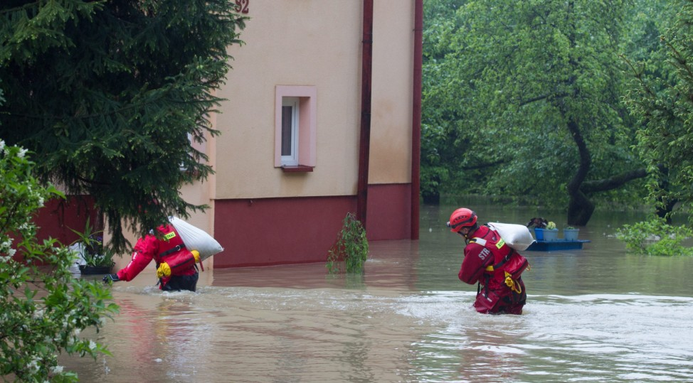Flooded houses in Skoczow