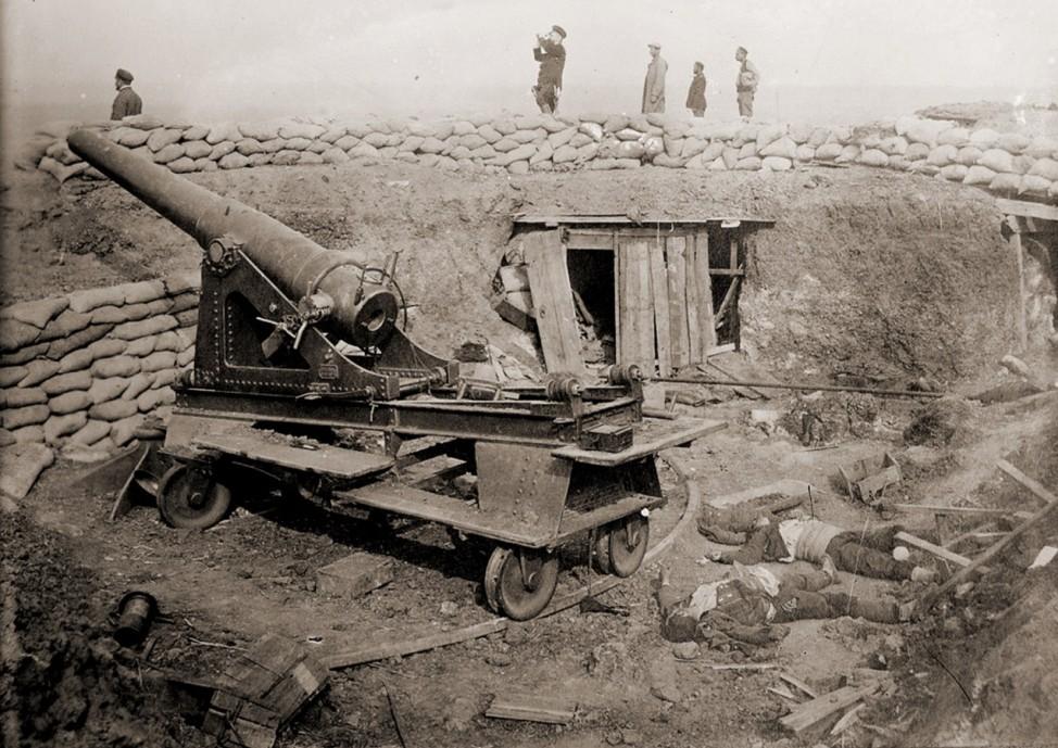 Eroberte türkische Artilleriestellung bei Edrine Balkankrieg 1913