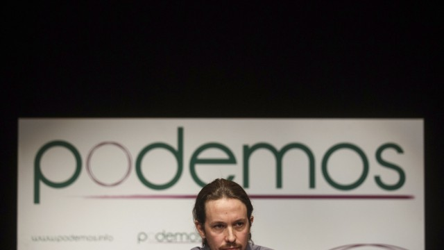 Pablo Iglesias, head of leftist group 'Podemos', or 'We Can', delivers a speech during the presentation of the party in Madrid