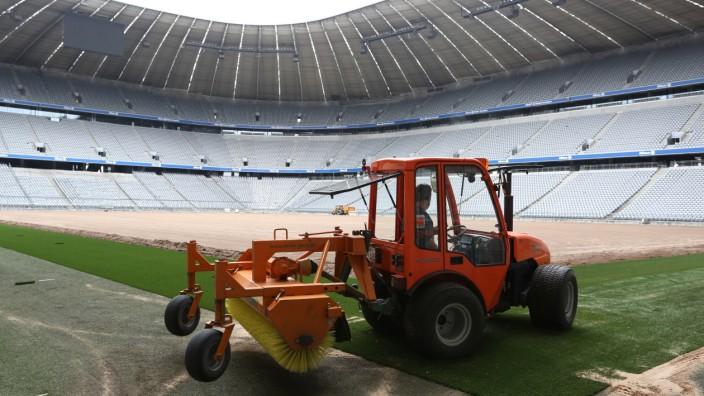 Umbauzeit in der Allianz Arena.