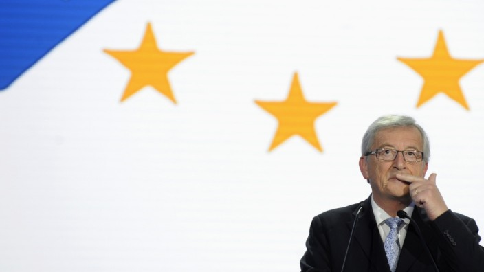 Juncker reacts on provisional results for the European Parliament elections at the European Parliament in Brussels