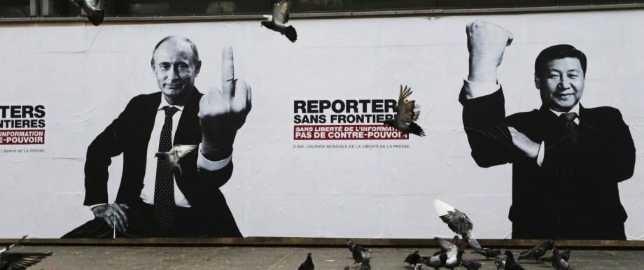 Meinungsmacher: Wladimir Putin auf einem Plakat der Organisation Reporter ohne Grenzen.