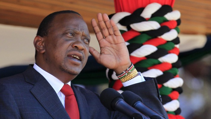 Kenyatta addresses the nation during celebrations for Madaraka Day in Nairobi