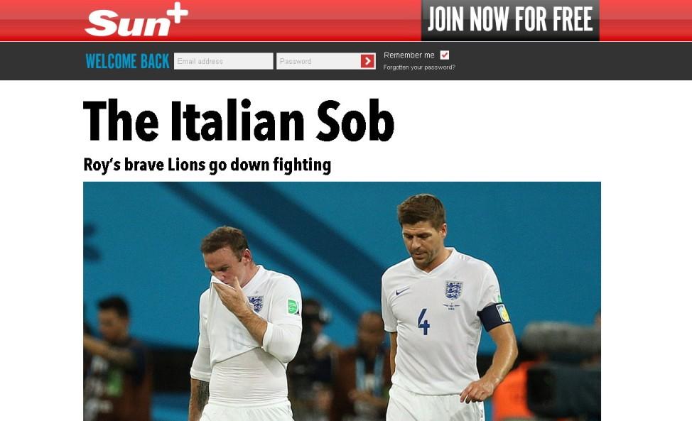 Sun Screenshot England vs. Italien