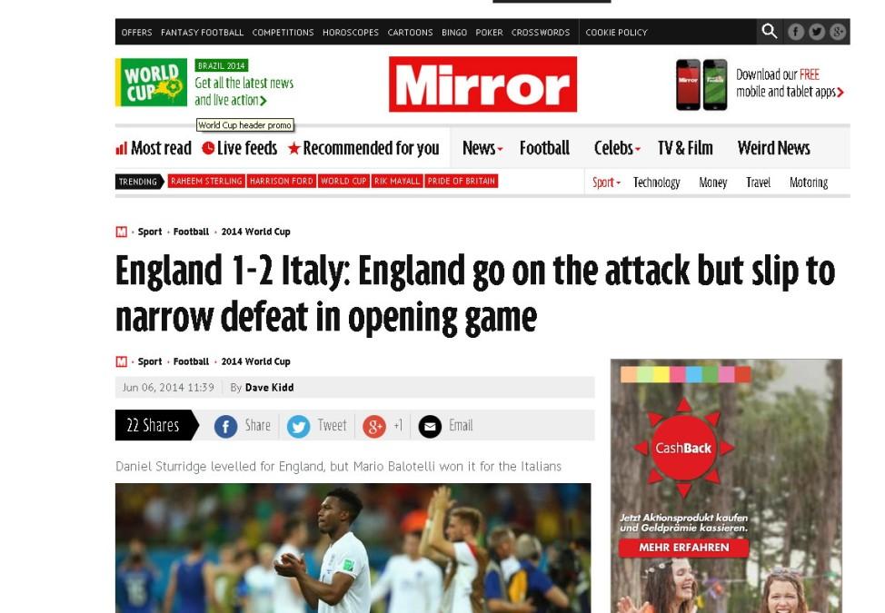 Mirror Screenshot England vs. Italien