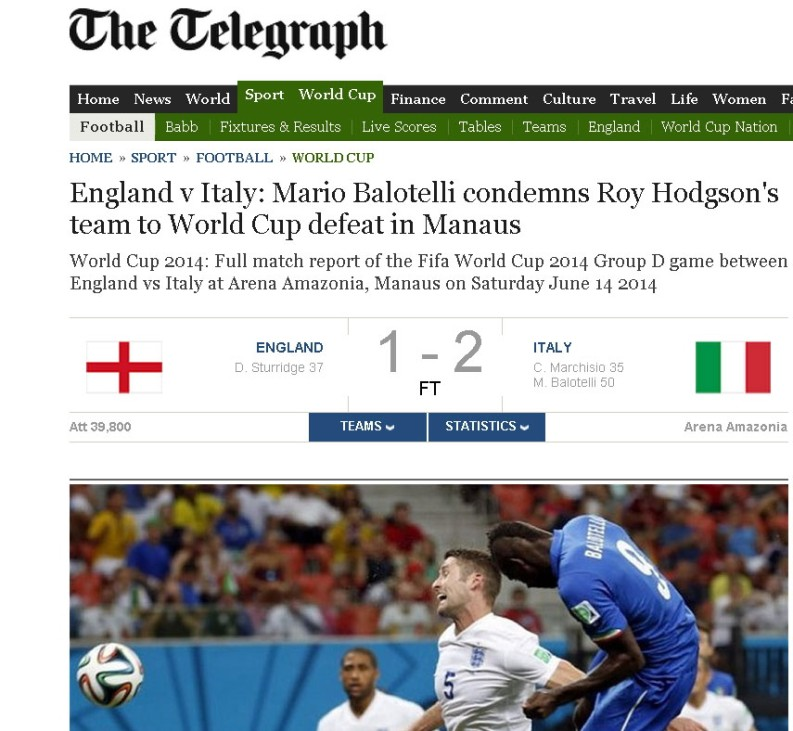 Telegraph Screenshot England vs. Italien