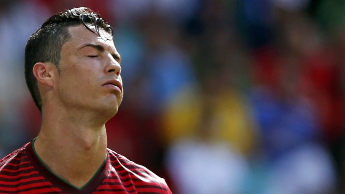 Portugal's Ronaldo reacts during their 2014 World Cup Group G soccer match against Germany at the Fonte Nova arena in Salvador