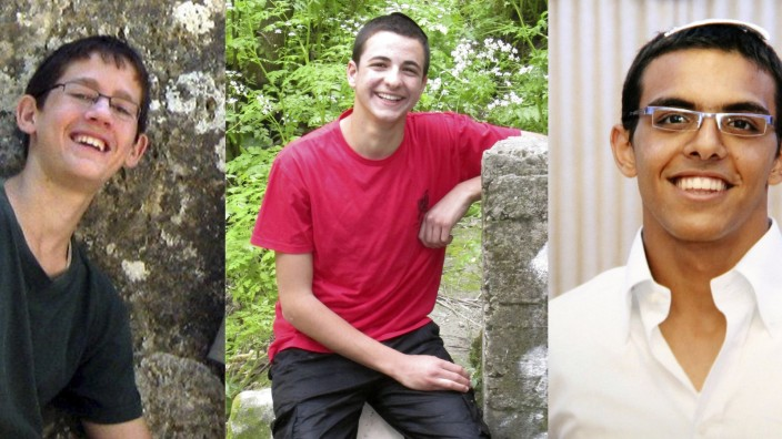 Combination photo of three Israeli teenagers abducted in the occupied West Bank