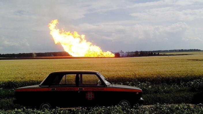 Natural gas export pipeline explosion in Ukraine