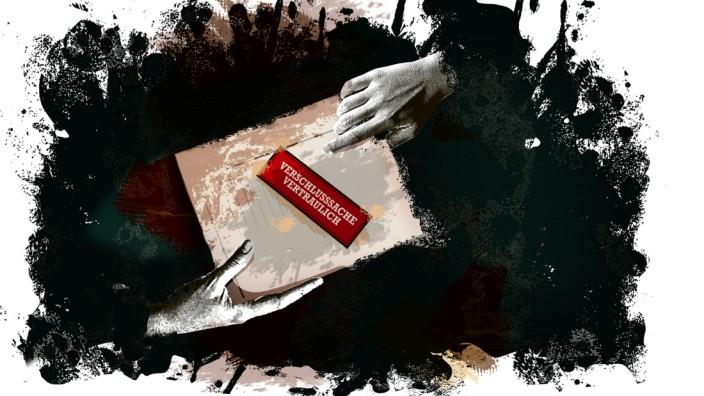 Geheimdokumente von Nachrichtendiensten: Laxer Umgang mit geheimer Post. Illustration: Stefan Dimitrov/SZ