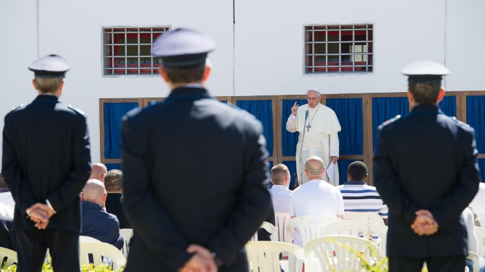 Pope Francis speaks during a visit at the prison in Castrovillati, southern Italy