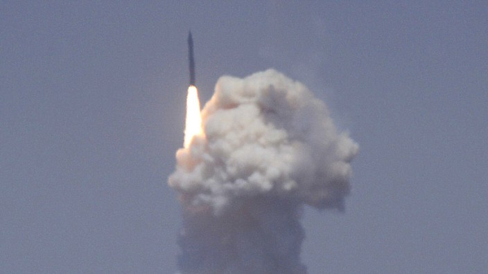 A flight test of the exercising elements of the GMD system is launched at the Vandenberg AFB