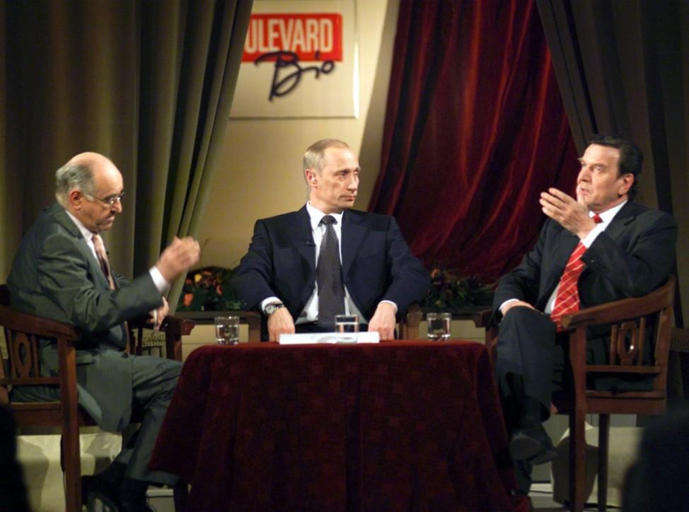 Wladimir Putin und Gerhard Schröder zu Gast bei Alfred Biolek