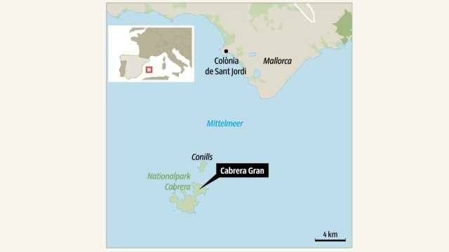 Karte Spanien Cabrera Insel Balearen