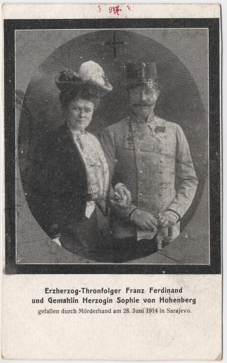 Erzherzog Thronfolger Franz Ferdinand von Österreich Sarajevo Attentat 1914 Ehefrau Sophie