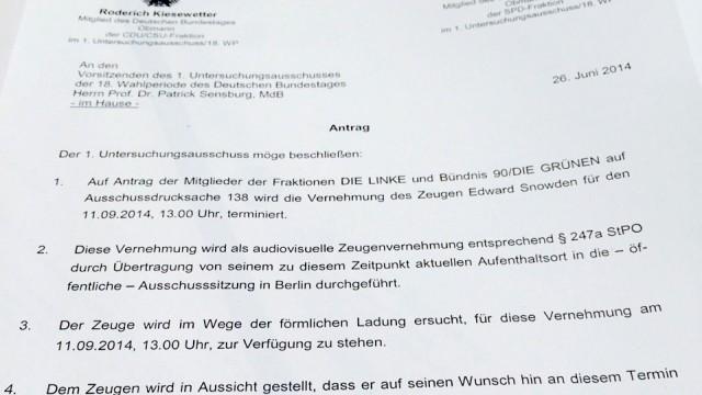 NSA-Untersuchungsausschuss: Der Antrag in dem sich Union und SPD einigen, die Vernehmung Snowdens in Deutschland abzulehnen. Klicken Sie auf das Bild, um es zu vergrößern.