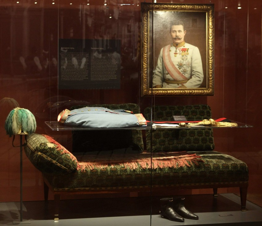 Uniform for General of the cavalry, worn by Archduke Franz Ferdinand of Austria during his assassination in Sarajevo, and the chaise longue he died on, are pictured on display at the museum of military history in Vienna