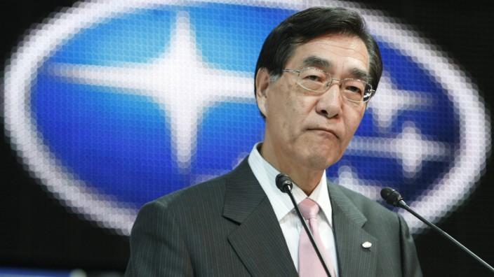 Fuji Heavy Industries Ltd Präsident Ikuo Mori bei der 41. Tokyo Motor Show in Chiba