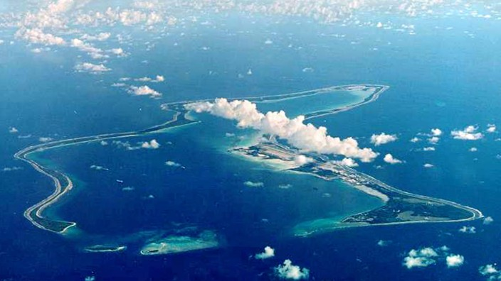 FILE PHOTO OF INDIAN OCEAN ISLAND OF DIEGO GARCIA, FROM WHERE U.S. BOMBERS FLEW TO ATTACK AFGHANISTAN
