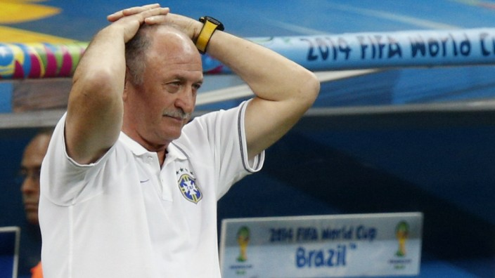 File photo of Brazil's coach Luiz Felipe Scolari reacting during their 2014 World Cup third-place playoff in Brasilia