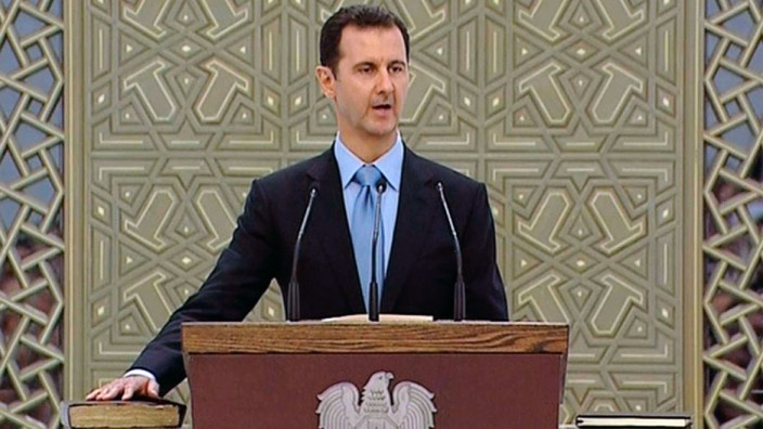 Still image from video shows Syria's President Bashar al-Assad speaking as he is sworn in for a new seven-year term at the presidential palace in Damascus