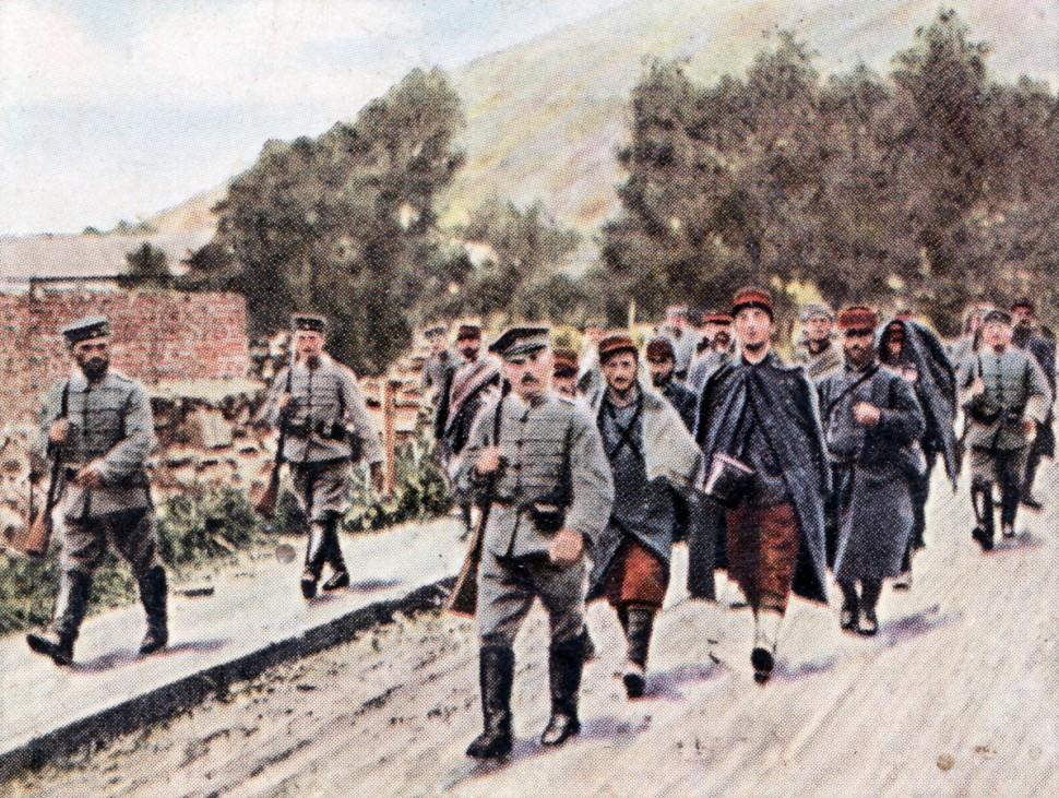 Erster Weltkrieg Westfront deutsche Soldaten französische Kriegsgefangene 1914