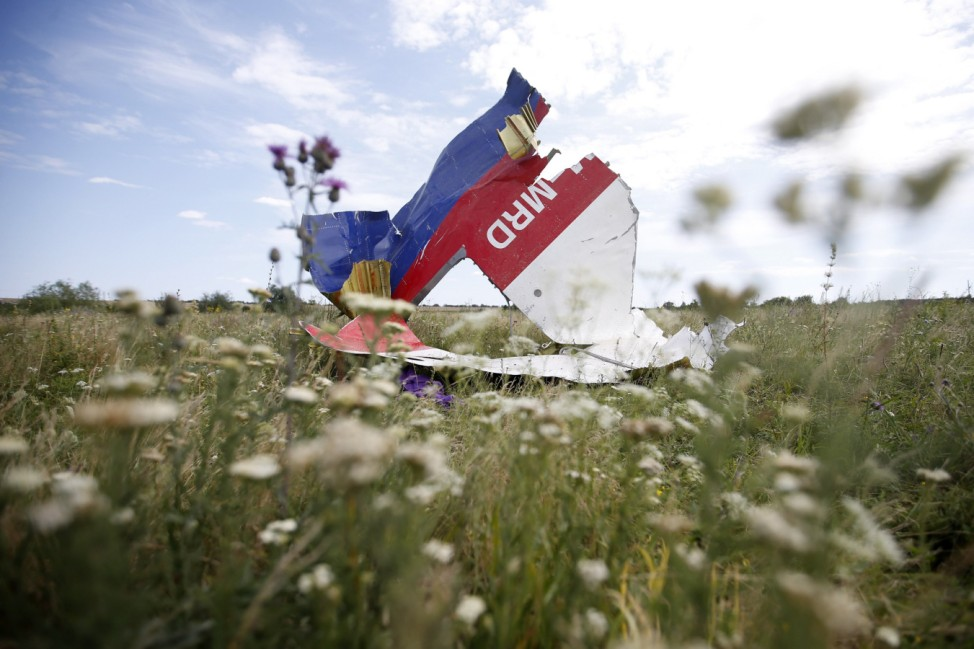 A part of the wreckage of Malaysia Airlines Flight MH17 is seen at its crash site, near the village of Hrabove, Donetsk region