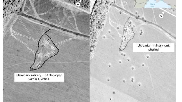 Krieg in der Ukraine: Diese Doppelaufnahme zeigt der US-Regierung zufolge eine ukrainische Stellung. Links ist sie unversehrt zu sehen. Rechts - zu einem späteren Zeitpunkt - ist das Gebiet demnach von Einschlägen russischer Raketen übersät.
