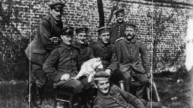 Adolf Hitler with comrades, First World War, 1914-1918.