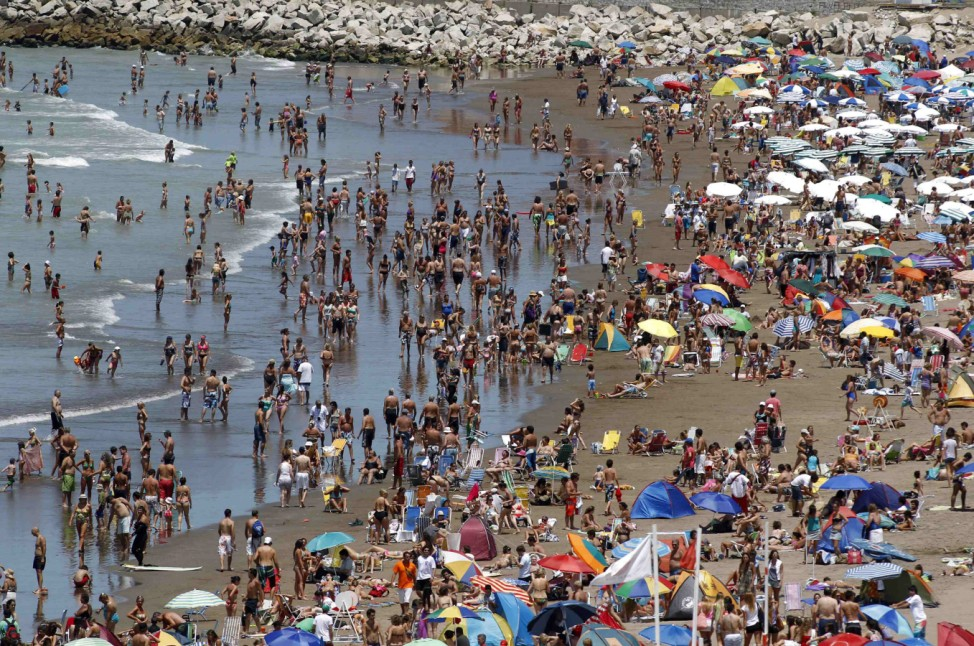 Beachgoers and holidaymakers enjoy a day in Mar del Plata