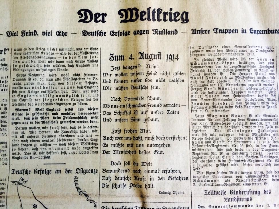 Gedicht des bayerischen Heimatliteraten Ludwig Thoma in den Münchner Neuesten Nachrichten vom 6. August 1914. Die Zeitung war die Vorgängerin der Süddeutschen Zeitung.