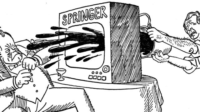 Karikaturist Ernst Maria Lang: Ohne Worte: Ernst Maria Langs Karikatur zu Willy Brandt und dem Springer Verlag.