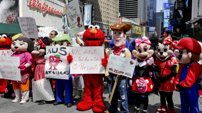 Kostümierte, Superhelden, Times Square in Manhattan, New York