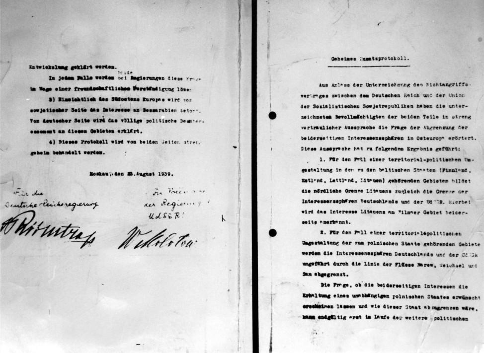 Geheimes Zusatzprotokoll des Deutsch-Sowjetischen Nichtangriffspaktes, 1939