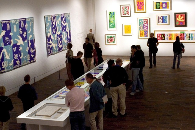 Visitors look at works of art by Henri Matisse at Louisiana Art Museum in Humlebaek, Denmark