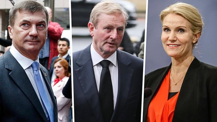 Neuer EU-Ratspräsident: Drei Kandidaten (von links): der irische Premierminister Enda Kenny, Andrus Ansip, langjähriger Ministerpräsident Estlands, und Helle Thorning-Schmidt, sozialdemokratische Premierministerin Dänemarks