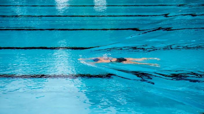 Schwimmbad, schwimmen, freibad, sommer, regen, trüb, wetter, freibad, schwimmbad, bad, baden