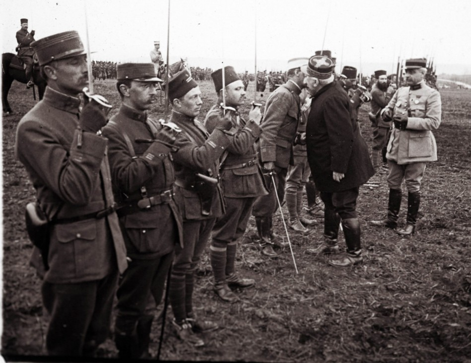 An archive picture shows French General Joseph Joffre congratulating and awarding medals to soldiers, who fought in the Battle of Verdun, in Verdun
