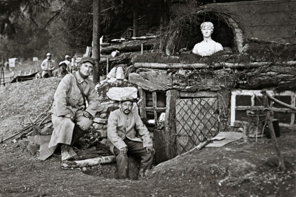 An undated archive picture shows French soldiers posing outside their shack, called 'The Chalet', at la Sapiniere near Lachalade on the Argonne front, eastern France