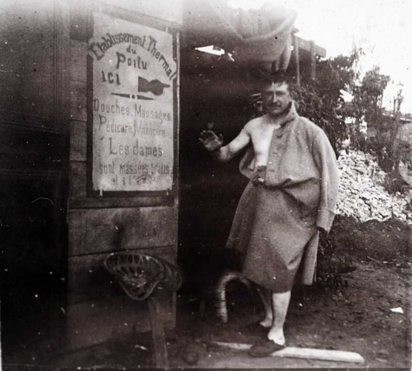 An undated archive picture shows a French soldier after taking a shower, at the rear guard near the front line, at an unknown location in France