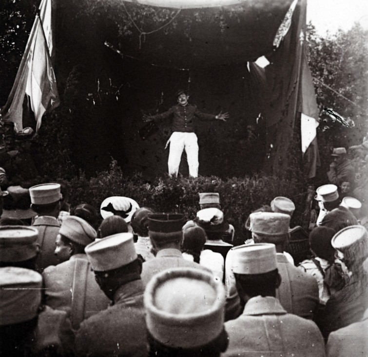 An archive picture taken shows soldiers attending an entertainment show at Suippes, on the Champagne Front, Eastern France