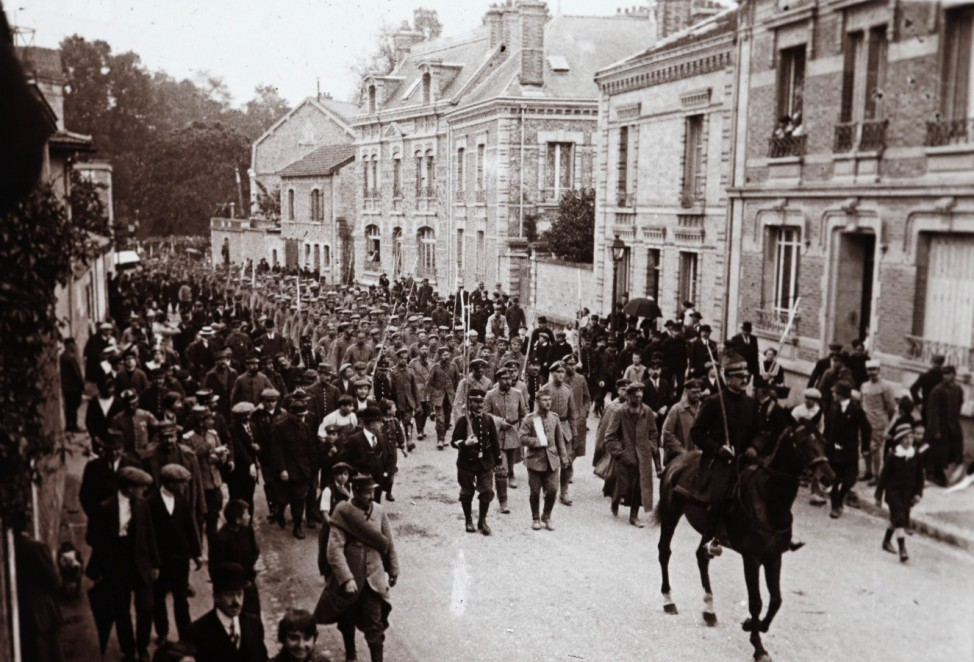 An archive picture shows captured Germans soldiers marching through Chalons en Champagne, Eastern France