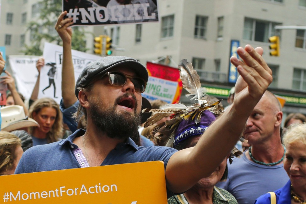 Actor Leonardo DiCaprio takes part in a march against climate change in New York