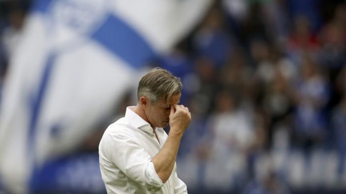 File picture of Schalke 04's coach Keller leaving