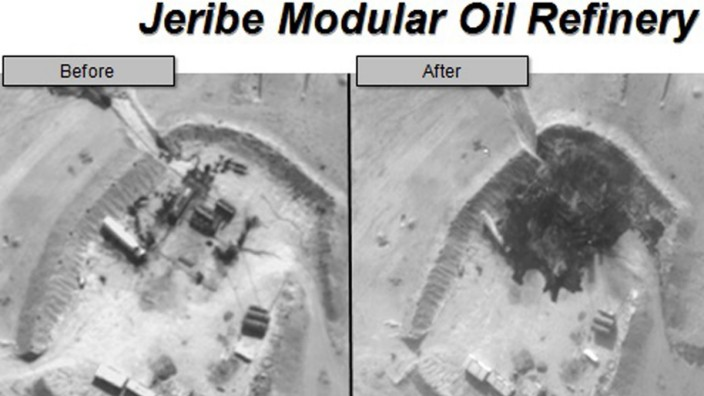 Before and after aerial pictures released by the U.S. Department of Defense show damage to the Jerive Modular Oil Refinery in Syria
