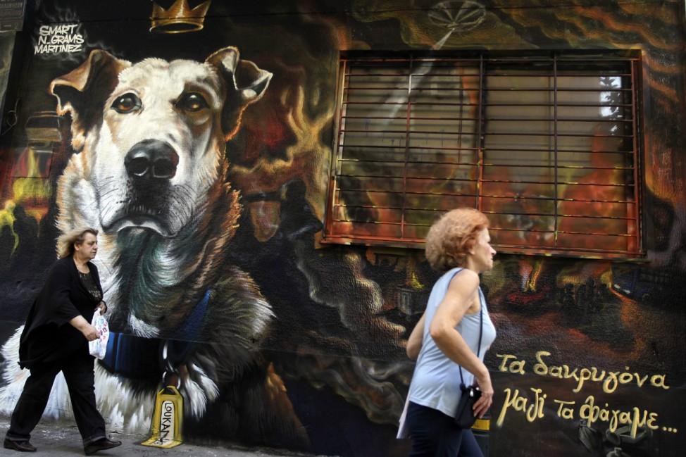 Graffitti depicts Loukanikos the riot dog of Athens