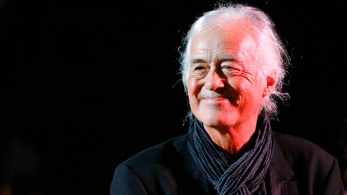 File photo of Guitarist Jimmy Page of the band Led Zeppelin being introduced during the Berklee College of Music Commencement Concert in Boston