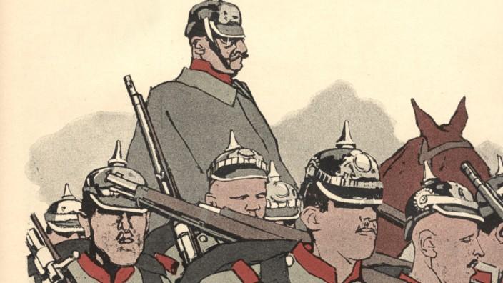 Deutsche Soldaten im Manöver, 1909 simplicissimus Satire Erster Weltkrieg