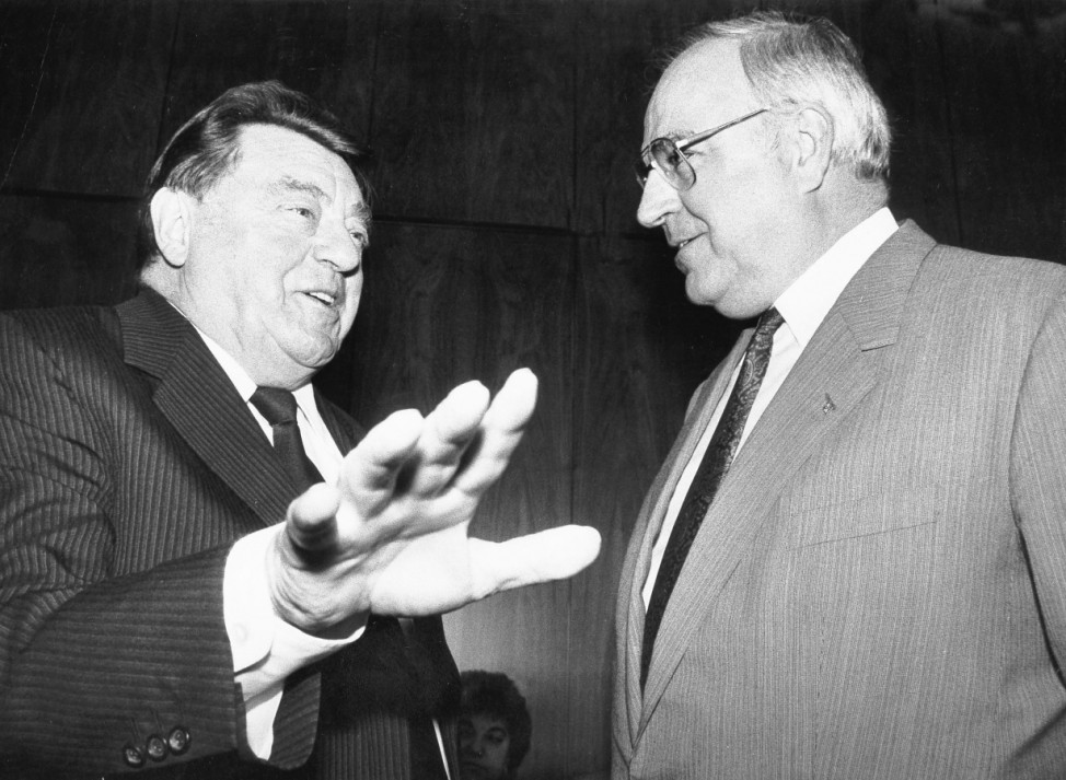 Franz Josef Strauß mit Helmut Kohl, 1988